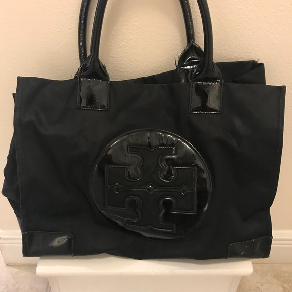 Tory Burch Ella nylon tote with patent leather
